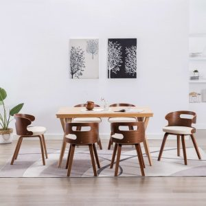 vidaXL Dining Chairs 6 pcs Cream Bent Wood and Faux Leather