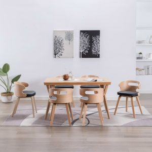 vidaXL Dining Chairs 6 pcs Black Bent Wood and Faux Leather