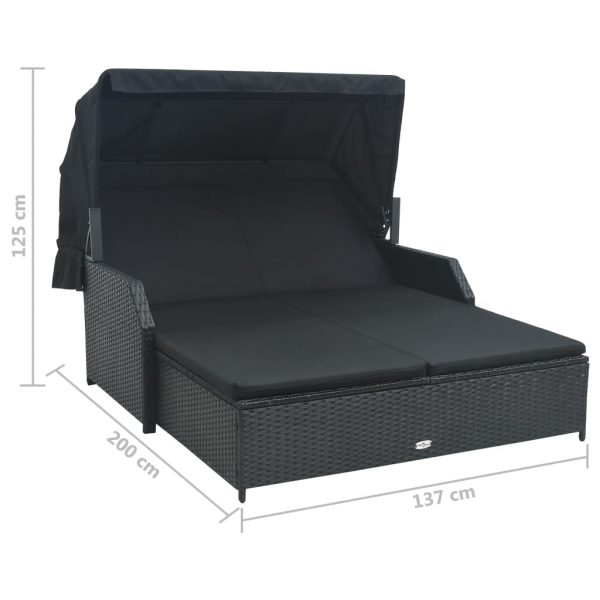 2-Person Sun Lounger with Canopy Poly Rattan Black