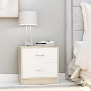 vidaXL Bedside Cabinets 2 pcs White and Sonoma Oak 40x30x40 cm Chipboard