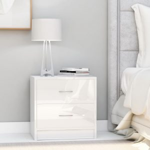 vidaXL Bedside Cabinet High Gloss White 40x30x40 cm Chipboard