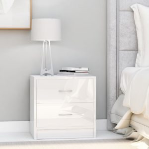 vidaXL Bedside Cabinets 2 pcs High Gloss White 40x30x40 cm Chipboard
