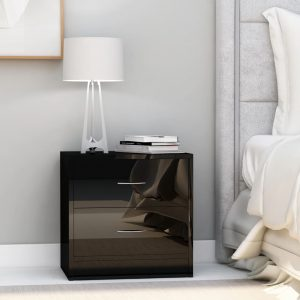 vidaXL Bedside Cabinet High Gloss Black 40x30x40 cm Chipboard