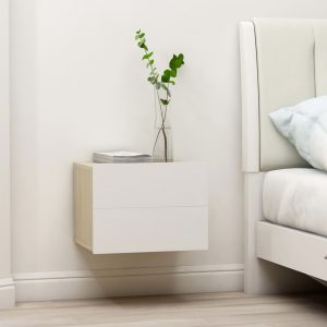 vidaXL Bedside Cabinet White and Sonoma Oak 40x30x30 cm Chipboard