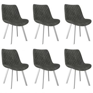 vidaXL Dining Chairs 6 pcs Grey Faux Suede Leather