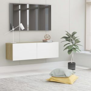 vidaXL TV Cabinet White and Sonoma Oak 100x30x30 cm Chipboard