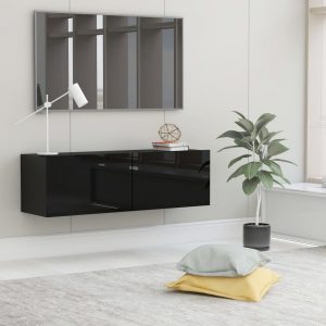 vidaXL TV Cabinet High Gloss Black 100x30x30 cm Chipboard
