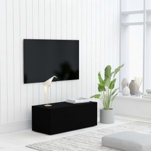 vidaXL TV Cabinet Black 80x34x30 cm Chipboard