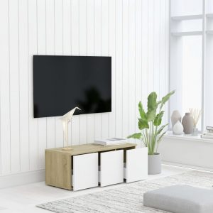 vidaXL TV Cabinet White and Sonoma Oak 80x34x30 cm Chipboard