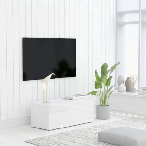vidaXL TV Cabinet High Gloss White 80x34x30 cm Chipboard
