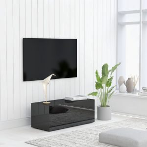 vidaXL TV Cabinet High Gloss Black 80x34x30 cm Chipboard