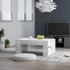 vidaXL Coffee Table High Gloss White 100x60x42 cm Chipboard