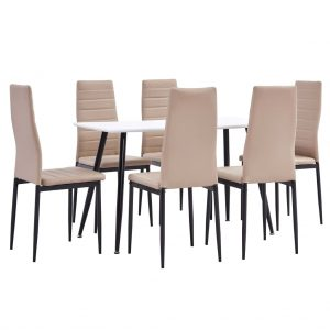 vidaXL 7 Piece Dining Set Faux Leather Cappuccino