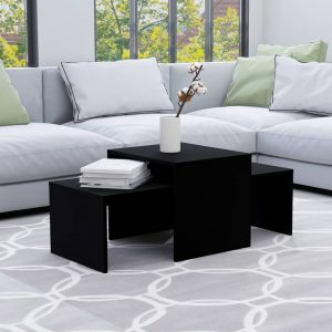 vidaXL Coffee Table Set Black 100x48x40 cm Chipboard