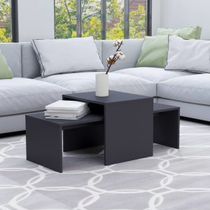 vidaXL Coffee Table Set Grey 100x48x40 cm Chipboard