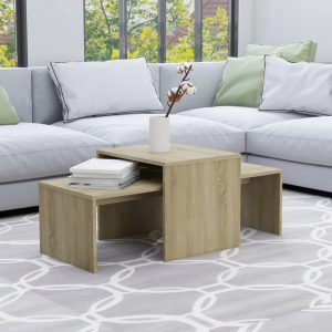 vidaXL Coffee Table Set Sonoma Oak 100x48x40 cm Chipboard