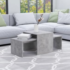 vidaXL Coffee Table Set Concrete Grey 100x48x40 cm Chipboard
