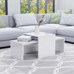 vidaXL Coffee Table Set High Gloss White 100x48x40 cm Chipboard