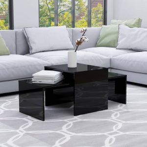 vidaXL Coffee Table Set High Gloss Black 100x48x40 cm Chipboard