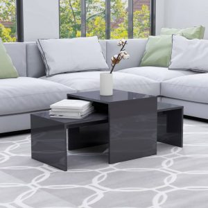 vidaXL Coffee Table Set High Gloss Grey 100x48x40 cm Chipboard