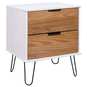 vidaXL Bedside Cabinet Light Wood and White 45×39.5×57 cm Pine Wood
