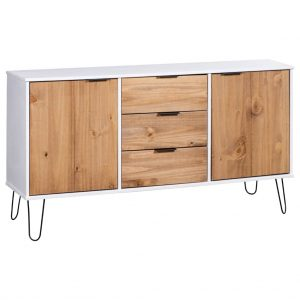 vidaXL Sideboard New York Range White and Light Wood Solid Pine Wood