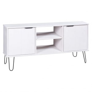 vidaXL TV Cabinet New York Range White Solid Pine Wood