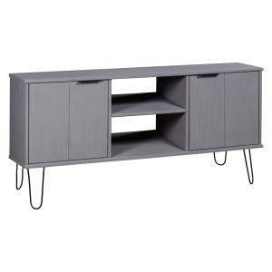 vidaXL TV Cabinet New York Range Grey Solid Pine Wood