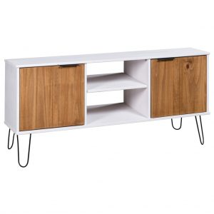 vidaXL TV Cabinet New York Range White and Light Wood Solid Pine Wood