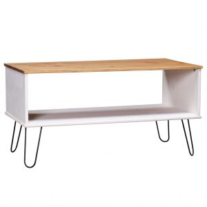 vidaXL Coffee Table New York Range White and Light Wood Solid Pine Wood