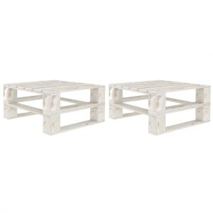 vidaXL Garden Pallet Tables 2 pcs White Wood