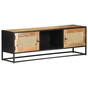 vidaXL TV Cabinet 120x30x40 cm Rough Mango Wood and Natural Cane