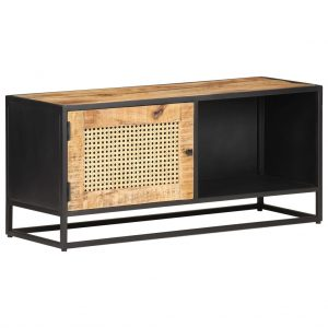 vidaXL TV Cabinet 90x30x40 cm Rough Mango Wood and Natural Cane