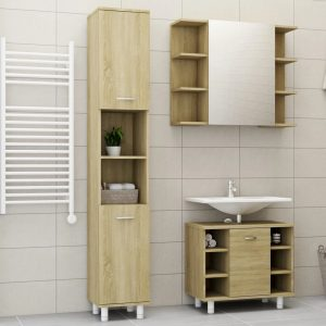 vidaXL 3 Piece Bathroom Furniture Set Sonoma Oak Chipboard