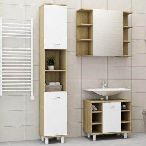vidaXL 3 Piece Bathroom Furniture Set White and Sonoma Oak Chipboard