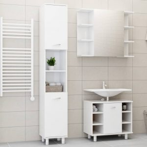 vidaXL 3 Piece Bathroom Furniture Set High Gloss White Chipboard