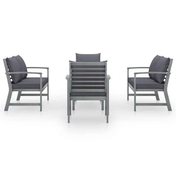 5 Piece Garden Lounge Set with Cushion Solid Acacia Wood Grey