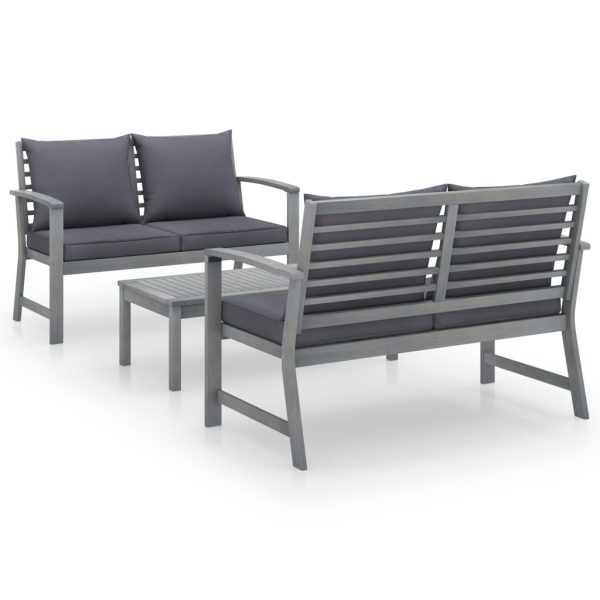 vidaXL 3 Piece Garden Lounge Set with Cushion Solid Acacia Wood Grey
