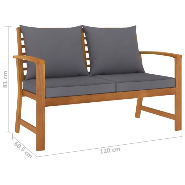 3 Piece Garden Lounge Set with Cushion Solid Acacia Wood
