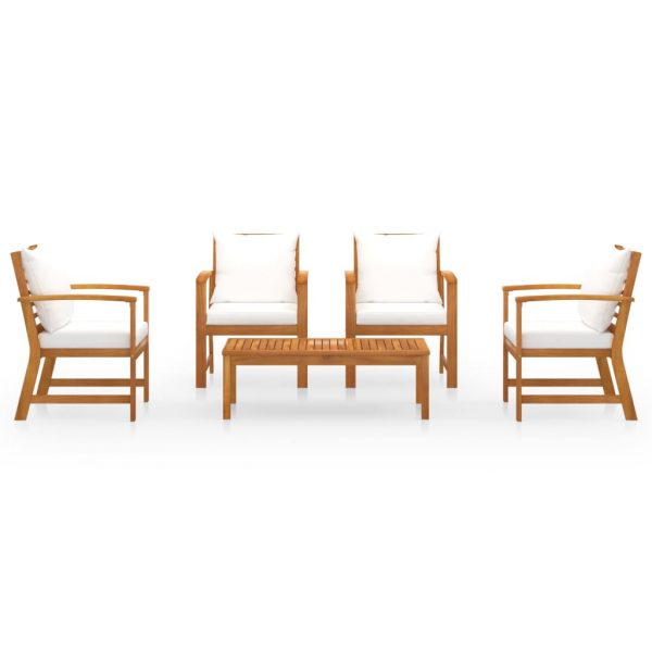 5 Piece Garden Lounge Set with Cushion Solid Acacia Wood