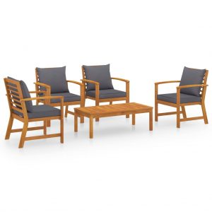 vidaXL 5 Piece Garden Lounge Set with Cushion Solid Acacia Wood