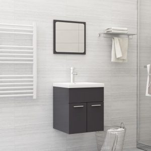 vidaXL 2 Piece Bathroom Furniture Set High Gloss Grey Chipboard