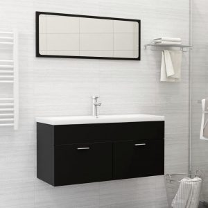 vidaXL 2 Piece Bathroom Furniture Set Black Chipboard