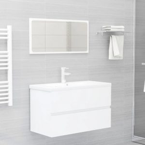 vidaXL 2 Piece Bathroom Furniture Set White Chipboard