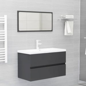 vidaXL 2 Piece Bathroom Furniture Set Grey Chipboard