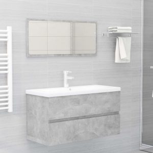 vidaXL 2 Piece Bathroom Furniture Set Concrete Grey Chipboard