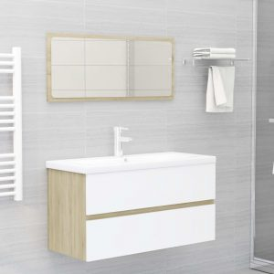 vidaXL 2 Piece Bathroom Furniture Set White and Sonoma Oak Chipboard