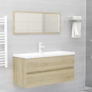 vidaXL 2 Piece Bathroom Furniture Set Sonoma Oak Chipboard