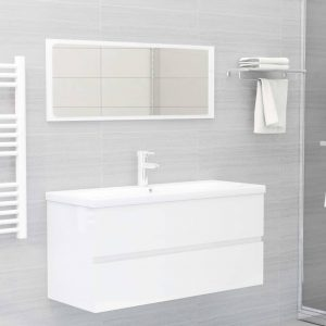vidaXL 2 Piece Bathroom Furniture Set High Gloss White Chipboard
