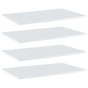 vidaXL Bookshelf Boards 4 pcs High Gloss White 80x50x1.5 cm Chipboard